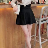 High Waisted Skirt with Forked Detail and Zipper Closure