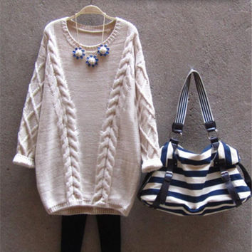 Long Sweater Women Autumn Winter Fashion O-Neck Twisted Chunky Cable Jumper Female Vintage Knitted Pullovers and Sweaters
