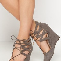 Izzie Vegan Suede Caged Wedge by GuiltySoles | Wedges | rue21