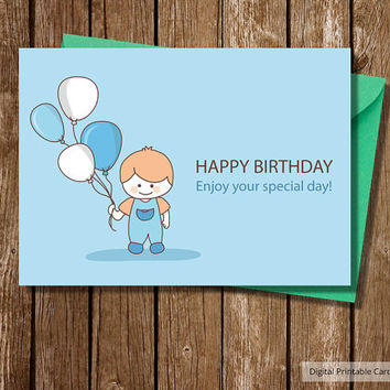 Printable Card, Instant Download ,Digital Template, Note Card ,Includes Printable Envelope A2, Happy Birthday Boy with Balloons,mokileart