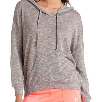 HEATHERED HIGH-LOW HOODIE