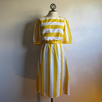 Vintage 1970s Stripe Dress Yellow White Block Striped 70s Summer Broadcloth Dress Medium
