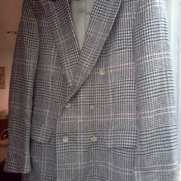 Vintage Womens Chaps Blazer by Ralph Lauren- for Saks Fifth Avenue- Hounds-tooth-plaid