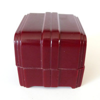 Small Oxblood Red Ring Box Display Celluloid Plastic Ring Holder