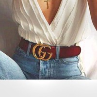 Gucci Fashion Letter Contracted Smooth Buckle Belt Leather Belt Brown