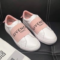 GIVENCHY Popular Women Men Casual Leather Sport Shoes Sneakers White/Pink