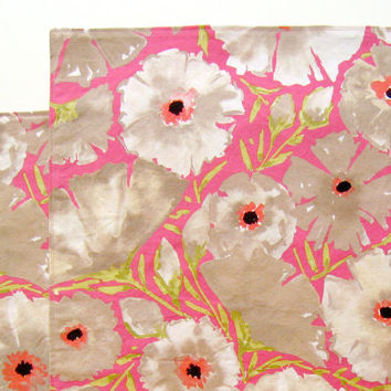 Large Reversible Cloth Placemats - Set of 2 - Pink Gray Beige Azaleas Flowers