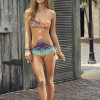 LeMar Swimwear - Sunset Key Bandeau Top Monokini Latin Fit in Multi | ShopMiamiStyle
