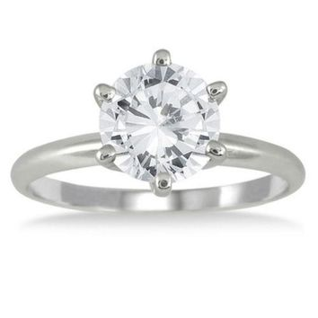 CERTIFIED 1 1/2 CT ROUND CUT G/SI1 ENHANCED DIAMOND SOLITAIRE ENGAGEMENT RING 14K GOLD