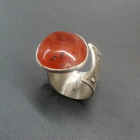 Sterling Silver Carnelian stone adjustable ring, orange red, One of a kind. Ready to ship
