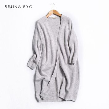 REJINAPYO Women Grey Solid Long Knitted Sweater Female Casual Open Stitch Ladies Elegant V-neck Wool Blends Cardigans