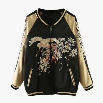 Gold Silky Embroidered Bomber Jacket