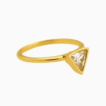 Triangle Crystal Diamond Ring