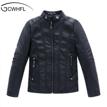 GCWHFL High Quality Jackets Boys Autumn Winter Girls PU Leather Jackets Children 4-16Y Clothing Kids Warm Thick Coat Outerwear