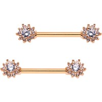 Clear CZ Gem Rose Gold Plated Cluster Flower Barbell Nipple Ring Set