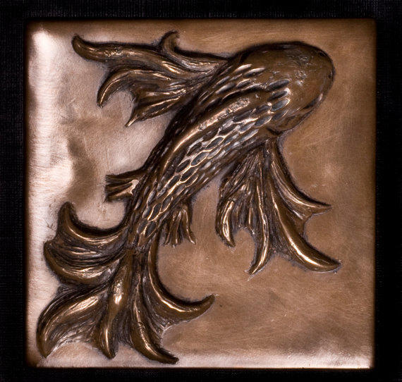 Koi fish decorative tile accent tile from inspiremetals on for Koi fish metal art