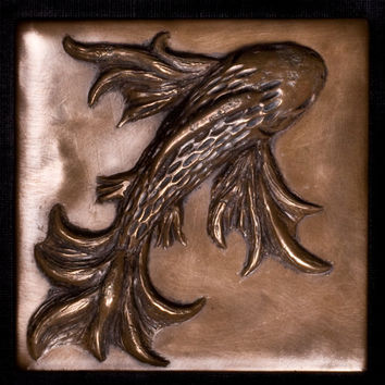 Koi Fish Decorative Tile - Accent Tile - Metal Tile - Wall Tile -Metal Wall Art - Metal Art -