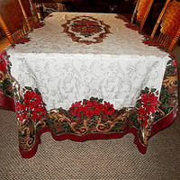 Christmas Tablecloth 120 x 60 Elegant Gold Burgundy and Green Floral Table Cover Poinsettia Flowers Pinecones Winter Holiday Home Decor