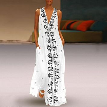 Flower Print Maxi Tank Long Dress