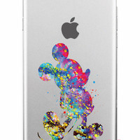 Mickey Mouse Disney Clear Watercolor iPhone Case 5,5s,SE,6,6S,6+,7,7+