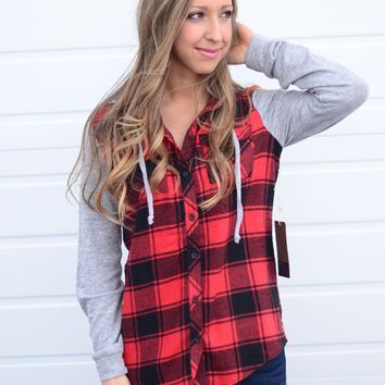 Here We Go Flannel- Red