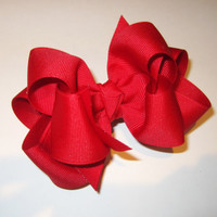 Valentine Red Hair Bow Fabulous Double Layered Boutique Lush with Spikey Edges for Baby Toddler or Little Girl