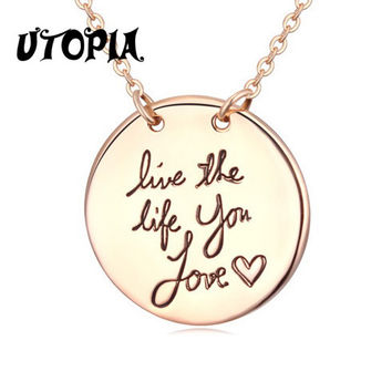 Utopia 2015 New Arrival Positive Energy Live The Life U Love  Pendant Necklace 18K Rose Gold Plated Romantic Style #114221