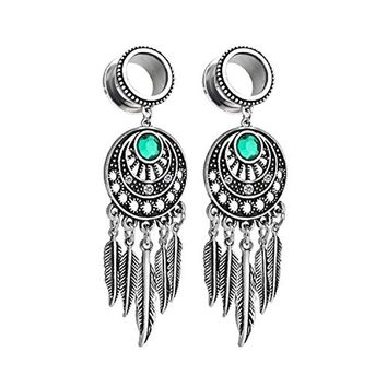 BodyJ4You Pair Surgical Steel Screw-Fit Tunnel Dreamcatcher Dangle Tribal Plug 2G (6mm) Stretcher Gauges