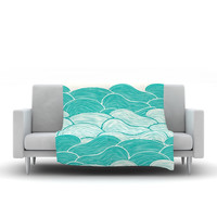 """Pom Graphic Design """"The Calm and Stormy Seas"""" Green Teal Fleece Throw Blanket"""