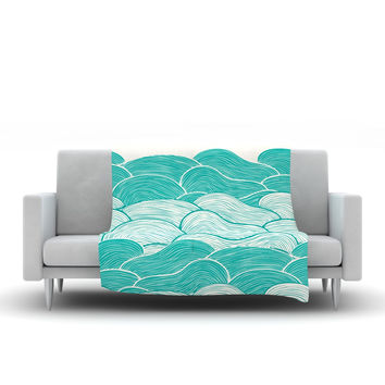 "Pom Graphic Design ""The Calm and Stormy Seas"" Green Teal Fleece Throw Blanket"