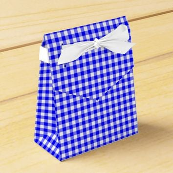 Gingham-Bright Blue-Favor Box, Tent Favor Box