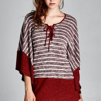 BURGUNDY BUTTERFLY SLEEVES SWEATER