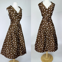 1990s polka dot dress, plus size white and brown shimmer fit and flare sleeveless button up collar tea length A line dress w belt, 18, 3X