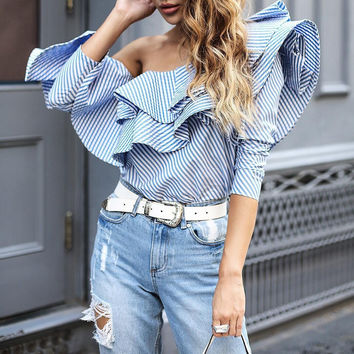 Long Sleeve Sexy Strapless Ruffle Stripes Tops Women's Fashion Shirt [9430886468]