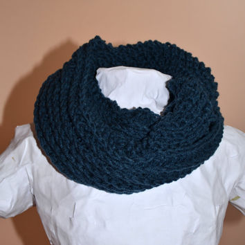 Windsor Blue Ribbed Crochet Infinity Circle Scarf
