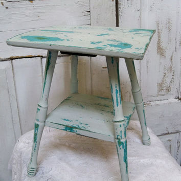 Aqua Blue Beach Cottage Small Accent Table Distressed Shabby Chic Wood  Furniture Anita Spero