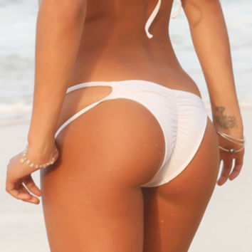 White *Elua* 2 String Cheeky Bikini Bottoms