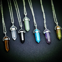 Quartz Bullet Stud Stone Necklace