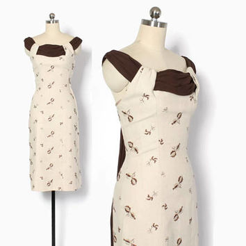Vintage 50s Embroidered Dress / 1950s 2-Tone Brown Linen Embroidered Sheath Dress XS