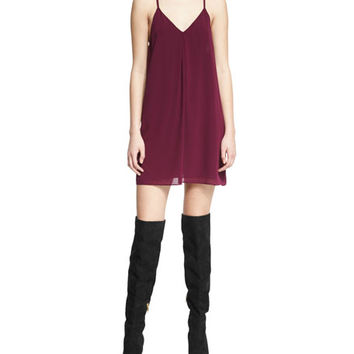 Alice + Olivia Fierra Chiffon Racerback Mini Dress, Plum