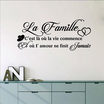 French La Famille Vinyl Mural Wall Decals Sticker France Family Decor Wall Art Decals Home Living Room Bedroom Wall Decoration