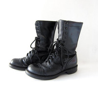 Vintage Combat Boots. Black Leather Boots. Tall Grunge Lace Up Boots. Cap Toed Military Boots. Women's 8