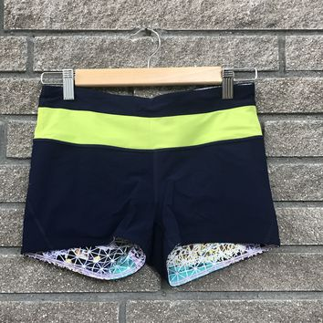 Lululemon Blue and Yellow Reversible Multicolor Shorts