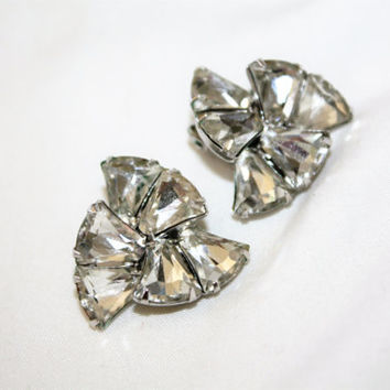 Vintage Eisenberg Rhinestone Earrings, Vintage Clip On Earrings, Bridal Wedding, 1950s Estate Jewelry