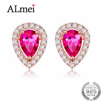 Almei Sparkle 925 Sterling Silver Red Topaz Crystal Wedding Rose Gold Color Teardrop Earrings Jewelry Bridal Free Box 40% FR009