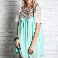 Umgee Mint Embroidered Baby Doll Dress with Mesh Sleeves