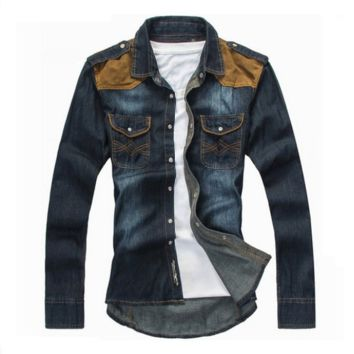 Cool Men's Slim Fit Long Sleeve Turn Down Collar Denim Shirt