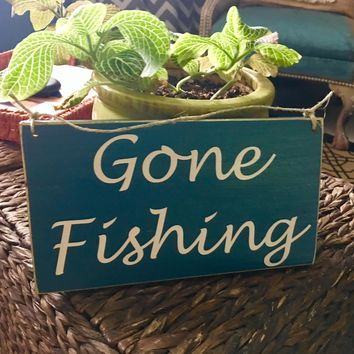 10x6 Gone Fishing Wood Sign