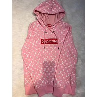 Supreme x LV Fashion Print Cotton Long Sleeve Top Sweater Pullover Hoodie