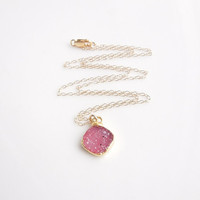 Druzy Necklace in Pink Rose
